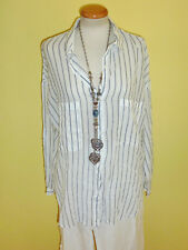 leichtes Hemd mango weiß blau gestreift Größe L neuwertig