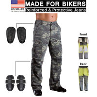 Motorcycle Motorbike Jean Protective Lining Knee Armour Camo Biker Trouser Pant