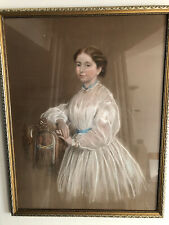 More details for framed antique pastel portrait of a lady in a white dress - signed gilbert 1867