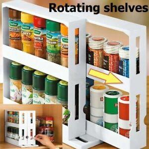 Multi-Function Rotating Storage Shelf Kitchen Cabinet Spice Organizer Rack US