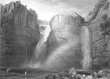 Durham, TEESDALE HIGH FORCE WATERFALL RIVER TEES ~ Old 1875 Art Print Engraving