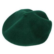 Beret Artiste Francais Couleur Pleine Laine Fille Hiver Vert fonce H8C5