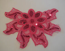 Rose Pink sequins floral lace applique / lace motif for sale. size 19x14.2cm