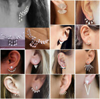 Women Charms Crystal Rhinestone Leaves Tassel Ear Stud Earrings Chic Flowers
