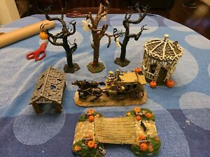 Lemax Spooky Town, LOT OF 7, Assorted, Gazebo, Bridge, Stage Coach, Trees