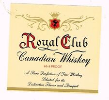 1940s Royal Club Canadian Whiskey Label TavernTrove