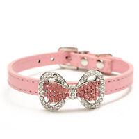 Bling Rhinestone Bow PU Leather Crystal Bowknot Puppy Collar Pet Dog Cat Collar