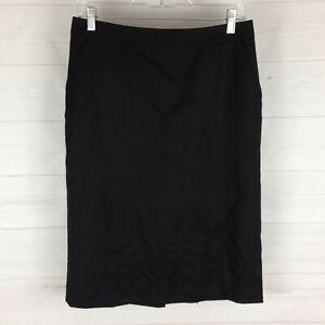 Banana Republic women size 4 solid black 100% wool lined straight slit skirt EUC
