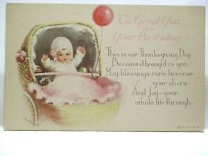 1930s POSTCARD TO GREET YOU ON YOUR BIRTHDAY, BABY IN CARRIAGE