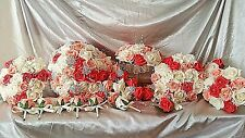 IVORY CORAL & PEACH WEDDING FLOWER PACKAGE WITH BROOCHES, DIAMANTES & CRYSTAL'S