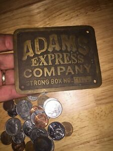 """Adams Strong Box Express Company Brass Finished Solid Metal Plate 1/4"""" Thick Vg"""