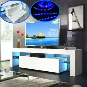 Modern White TV Unit Cabinet Stand Sideboard Set Matt Body High Gloss Doors LED