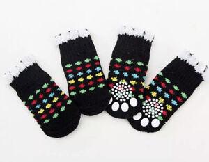 4 Pet Socks Puppy Dog Indoor Soft Warm Cotton Anti-slip Black White Colour Spot