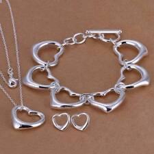Fashion 925 Silver plated Heart Bracelet Earrings Necklace Jewelry Sets S167