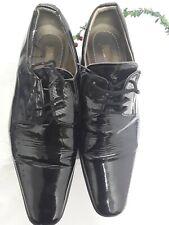 Mens Smart Formal Black Shoes Shiny Patent Lace Size Euro 41 Uk 7