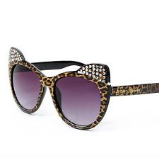 Brand NEW Betsey Johnson Brown Leopard Embellished Kitten-Ear Cat Eye Sunglasses