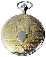 Excellanc Taschenuhr + Kette Weiß Silber Gold Muster Analog Quarz X480312000055