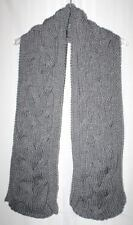New Handmade Knitted Heather Grey Cable Weave Scarf