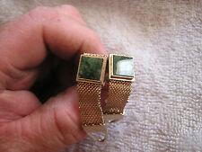 Vintage Swank Wrap-Around Cufflinks with Green Stones