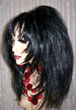Drag Queen Wig Teased Jet Black Feathered Sides to the Face and Long