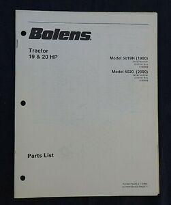 1987 BOLENS MODEL 5019H 1900 5020 2000 LAWN GARDEN TRACTOR PARTS CATALOG MANUAL