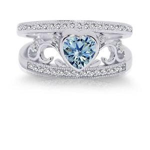 Aquamarine Heart Genuine Sterling Silver CZ Wedding Engagement Ring Set