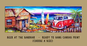 DEBORAH BROUGHTON ART Stretched Canvas Kombi Sandbar Beach Print  Choose a size