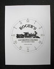 "(003) Clock Face Railroad Roger'S Locomotive Steam Engine Train Advert 6.5"" Dial"