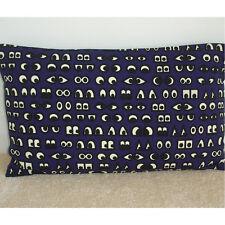 "20""x12"" Oblong Bolster Cartoon Eyes Cushion Cover Navy Blue Cream and Black Kids"