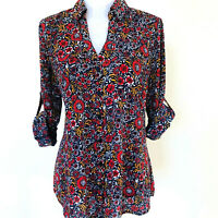 EXPRESS Womens Sz L Slim Fit Portofino Shirt Blouse Floral Red Blue Button Up