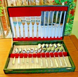 Canteen Stainless Steel Cutlery for 6 People 24 Pieces Pearl Handles Sheffield