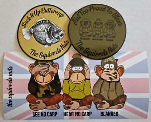 Carp Fishing Waterproof Sticker Set , 3 Stickers, High Tack, the squirrels nuts