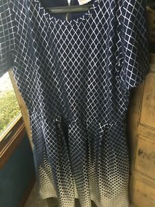 LuLaRoe NEW Amelia Elegant Dress 3XL XXXL  navy blue with silver foil diamonds