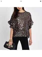 River Island New Black Sequin Frill Sleeve Party Evening Top Blouse L 14-16