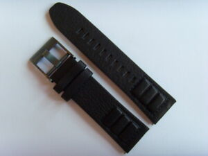Diesel Original Spare Band Leather Wrist Band DZT2003 Watch Band Black 24 MM