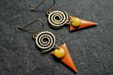 Gold Spiral Orange Triangle Enamel Earrings* Ethnic* Feminine