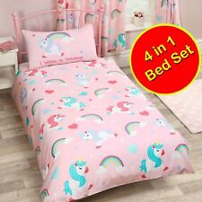 I BELIEVE IN UNICORNS JUNIOR TODDLER BEDDING SET 4 IN 1 - COVERS, QUILT, PILLOW