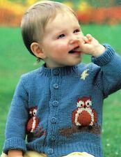 Knitting Pattern To Make Baby/Toddler Owl Motif Cardigan. 18-22 Inch Chest.