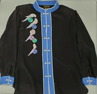 NWT BOB MACKIE WEARABLE ART Black Embroidered Button-down Silk Blouse Size 1X