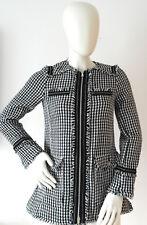 New Zara Tweed Monochrome Long Zip Biker Jacket Size XS - 6 / 8