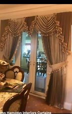 Designer Curtains Swags & Tails PT heavyweight satin Fabric Tasselled