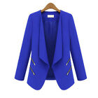 Women's Slim Suit Blazer Lapel OL Coat Tops Long Sleeve Zip Short Jacket Outwear