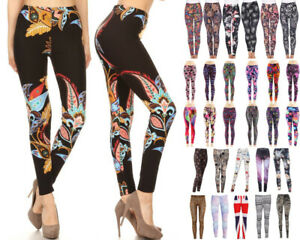 Women's Leggings Buttery Soft Stretch Knit Full Length Prints Pattern One Size