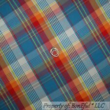 BonEful Fabric FQ Cotton Quilt  Blue Red White Yellow Plaid Stripe Block Check L