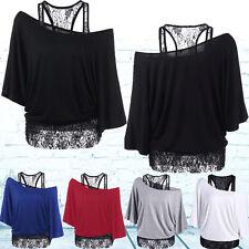 Womens Ladies Loose Lace Blouse One Shoulder T-Shirt Tops Short Sleeve Plus Size