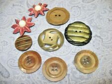 Vintage LOT OF 9 CELLULOID BUTTONS CARVED -WAFER - FLOWER