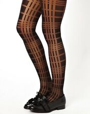 Asos Ladies Black Sheer Check Tights One Size