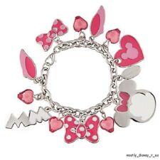 New Disney Store Minnie Mouse 13 Charm Bracelet Set Bows Ears Shoes Pink