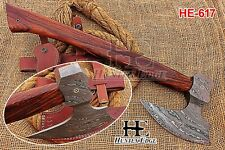 HUNTEX New Custom Hand-Forged Damascus Steel 21 Inch Long Walnut Wood Viking Axe
