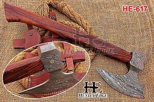 HUNTEX New Custom Hand-Forged Damascus Steel 430 mm Long Walnut Wood Viking Axe